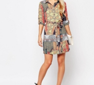 Kleit AX Paris 3/4 Sleeve Border Print Shirt Dress