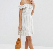 ASOS Cold Shoulder Sundress in Natural Stripe
